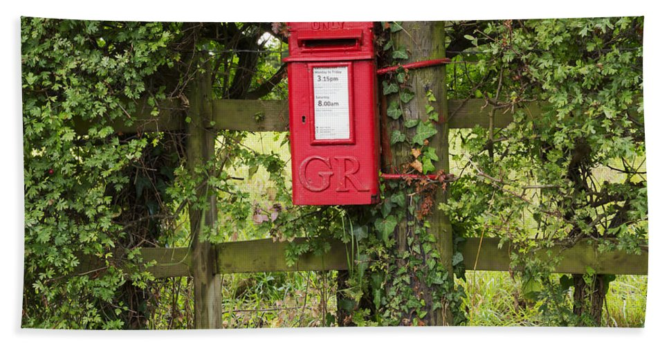 Letterbox Hand Towel featuring the photograph Letterbox In A Hedge by Louise Heusinkveld