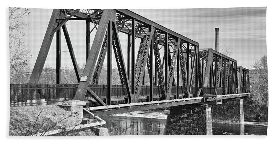 Androscoggin River Bridge Hand Towel featuring the photograph Lewiston-auburn Railroad Bridge by Guy Whiteley