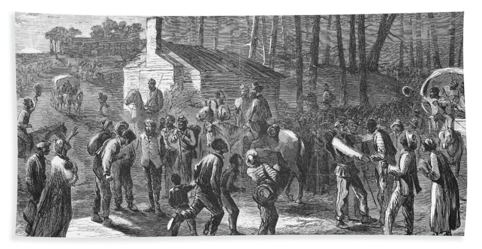 1863 Hand Towel featuring the photograph Liberating Slaves, 1864 by Granger