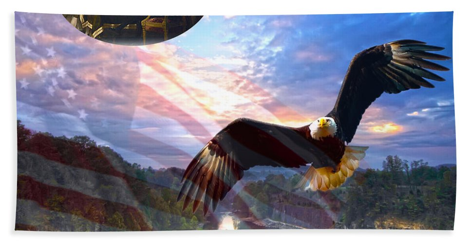 Liberty Hand Towel featuring the photograph Liberty And Freedom by Randall Branham