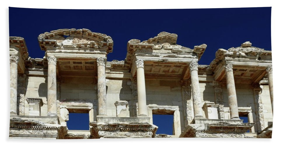 Library Of Celsus Bath Sheet featuring the photograph Library Of Celsus In Ephesus by Sally Weigand