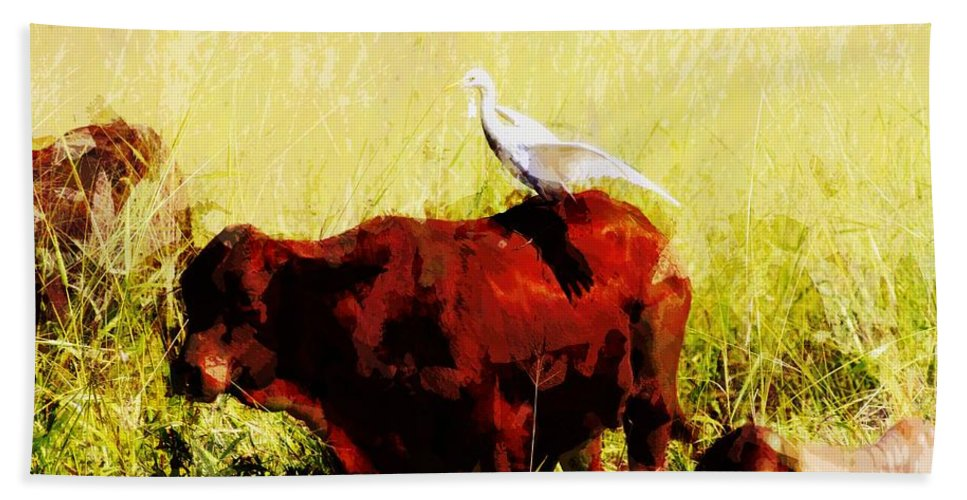 Cattle Hand Towel featuring the photograph Life On The Farm V4 by Douglas Barnard