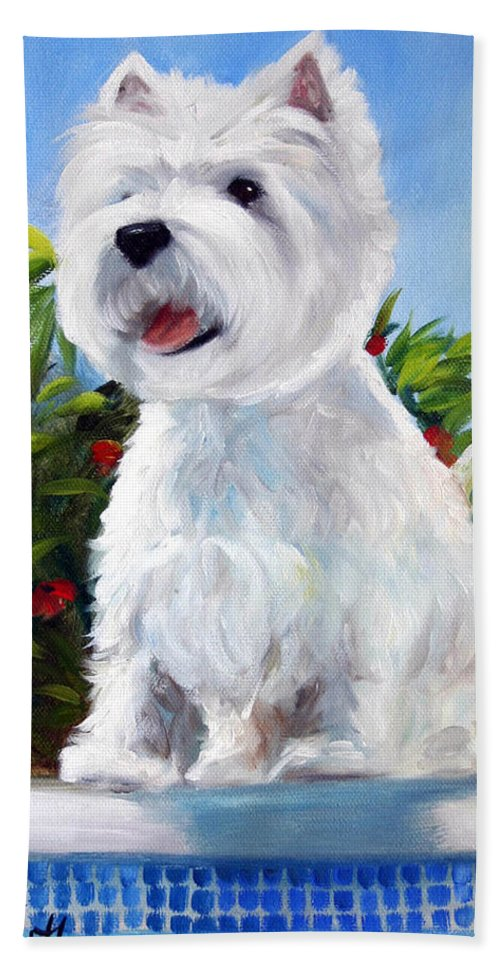 Art Bath Sheet featuring the painting Lifeguard On Duty by Mary Sparrow