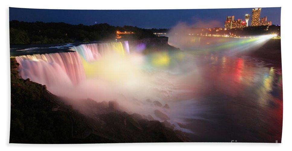 Niagara Falls Hand Towel featuring the photograph Light From The Canadians by Adam Jewell
