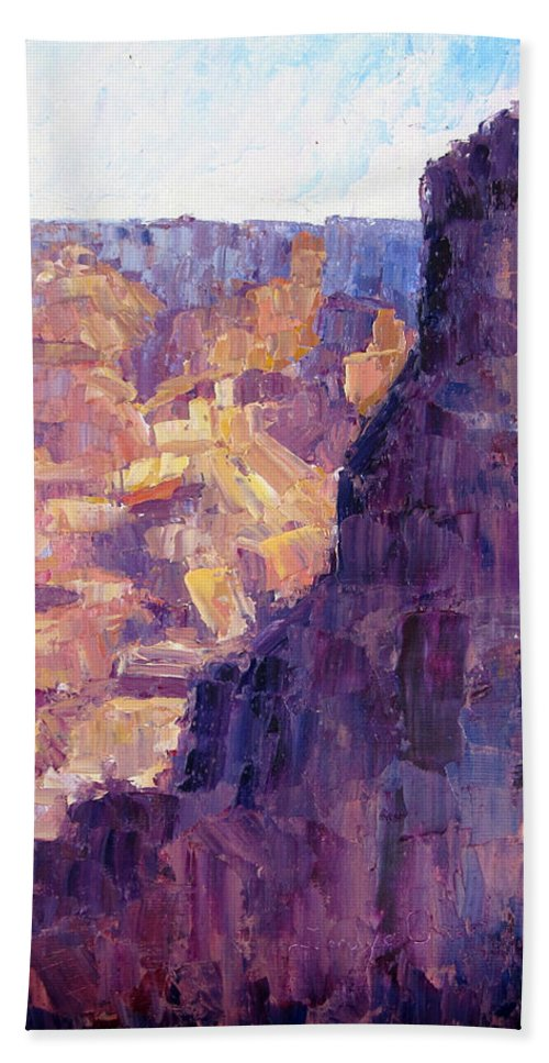 Grand Canyon Hand Towel featuring the painting Light In The Canyon by Terry Chacon