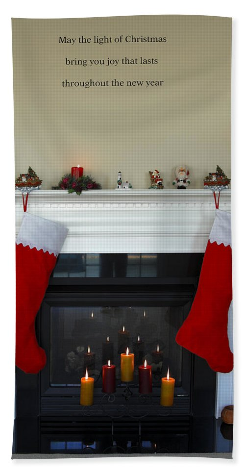 Fireplace Hand Towel featuring the photograph Light Of Christmas by Sally Weigand