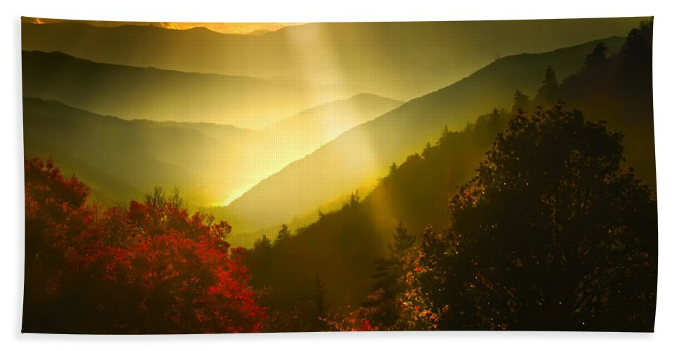 Oct 26 Parkway Bath Sheet featuring the photograph Light On The Moutain by Randall Branham
