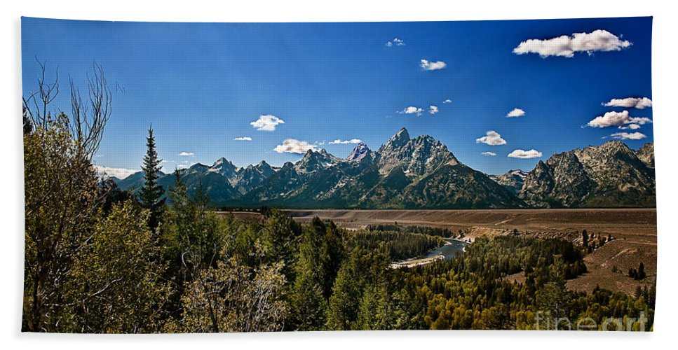 Grand Tetons Bath Sheet featuring the photograph Light Rays On The Grand Tetons by Robert Bales