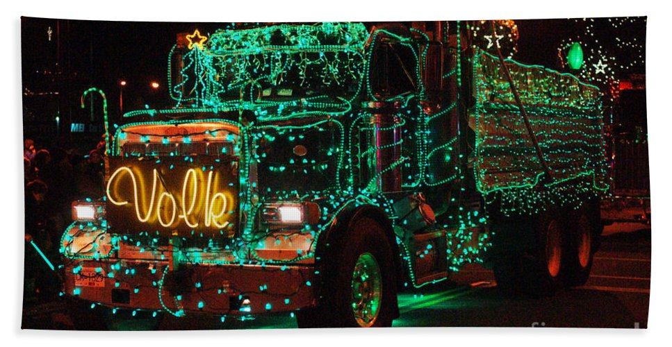 Christmas Lights Bath Sheet featuring the photograph Lighted Green Dumptruck by Randy Harris