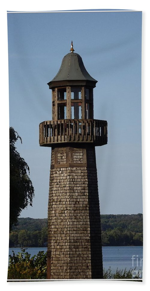 Lighthouse Hand Towel featuring the photograph Lighthouse At Lake Chautauqua by Rose Santuci-Sofranko