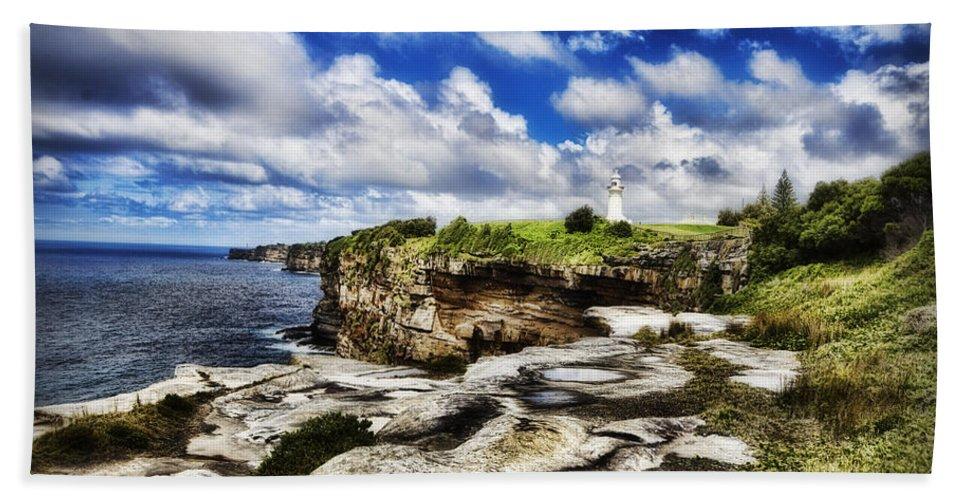 Lighthouse Bath Sheet featuring the photograph Lighthouse At Watson Bay by Douglas Barnard