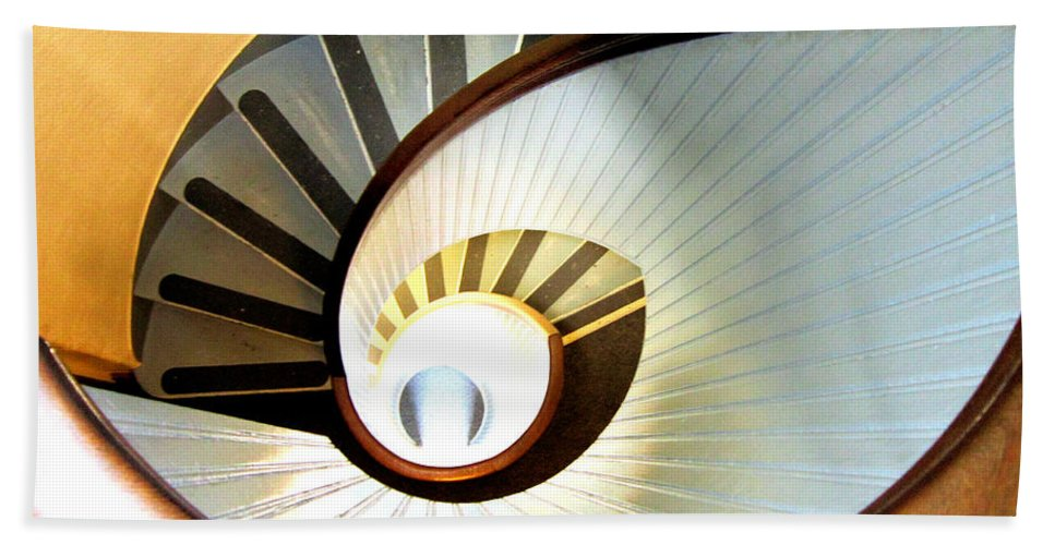 Point Loma Ca Lighthouse Eye Stairs Spiral Staircase San Diego Pacific Ocean Bay Cabrillo Light National Monument Old Built 1855 Eye Hand Towel featuring the photograph Lighthouse Eye by RJ Aguilar