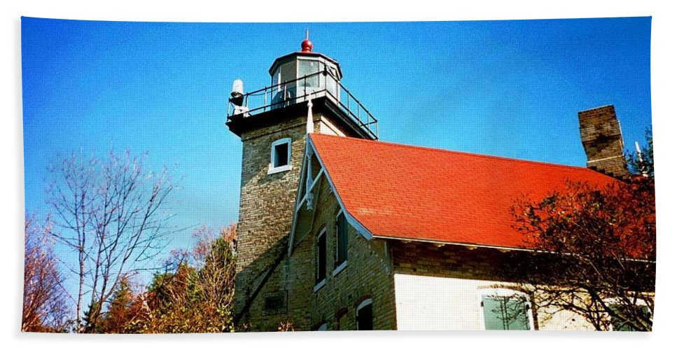 Lighthouse Hand Towel featuring the photograph Lighthouse In The Fall by April Patterson