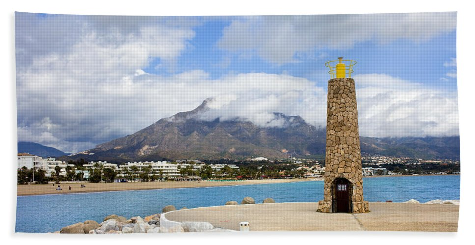 Sea Hand Towel featuring the photograph Lighthouse On Costa Del Sol In Spain by Artur Bogacki