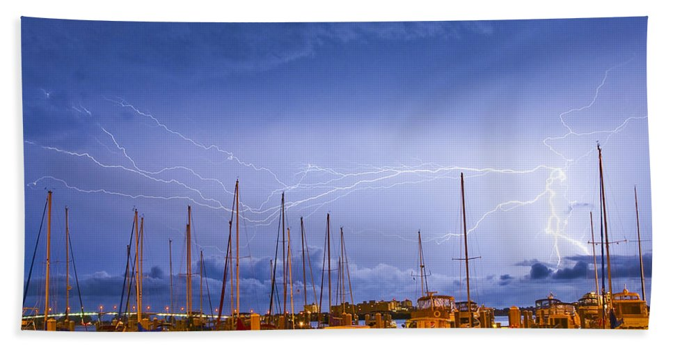 Lightning Hand Towel featuring the photograph Lightning At The Marina by Stephen Whalen