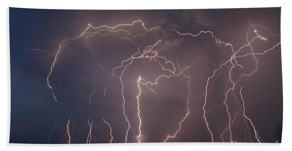 Landscape Hand Towel featuring the photograph Lightning Strike by Ted Kinsman