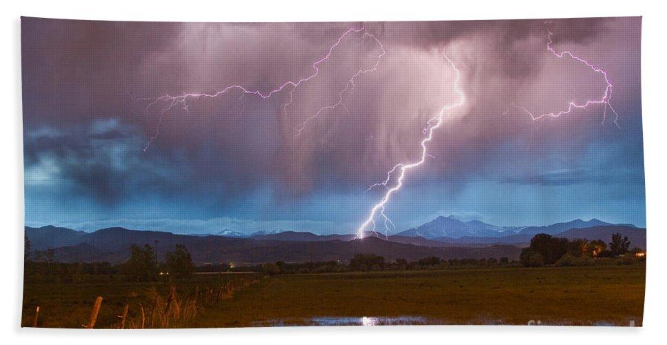 Lightning Bath Sheet featuring the photograph Lightning Striking Longs Peak Foothills 2 by James BO Insogna