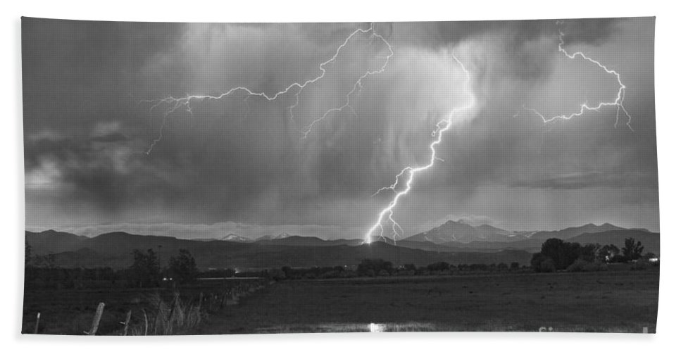 Awesome Bath Sheet featuring the photograph Lightning Striking Longs Peak Foothills 2bw by James BO Insogna