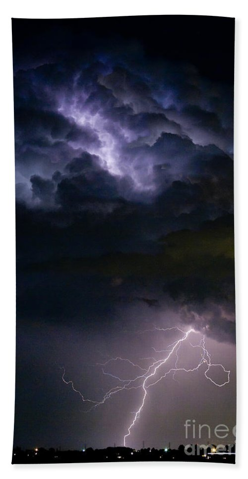 Lightning Bath Sheet featuring the photograph Lightning Thunderhead Storm Rumble by James BO Insogna