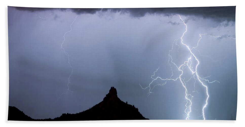 Pinnacle Peak Bath Sheet featuring the photograph Lightning Thunderstorm At Pinnacle Peak by James BO Insogna