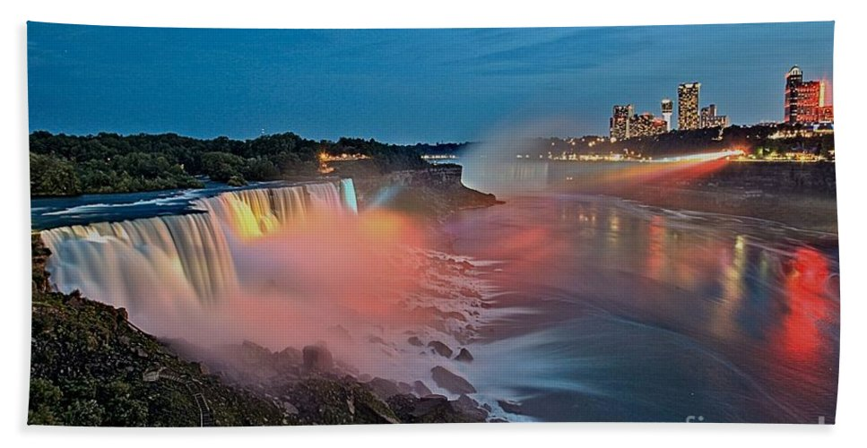 Niagara Falls Hand Towel featuring the photograph Lights On Niagara by Adam Jewell