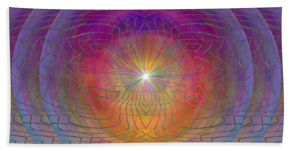 Abstract Bath Sheet featuring the digital art Lightwave Geometrics by Tim Allen