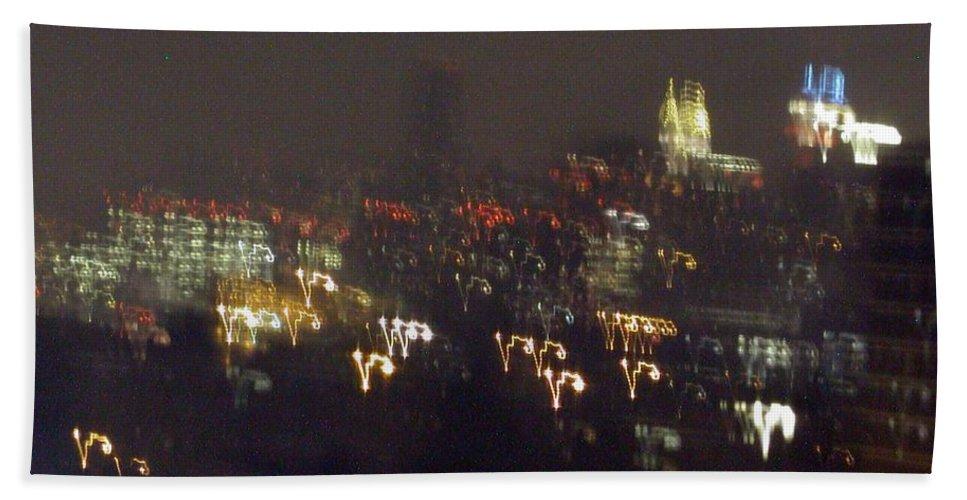 Bath Sheet featuring the photograph Lightwriting New York City by Anna Ruzsan