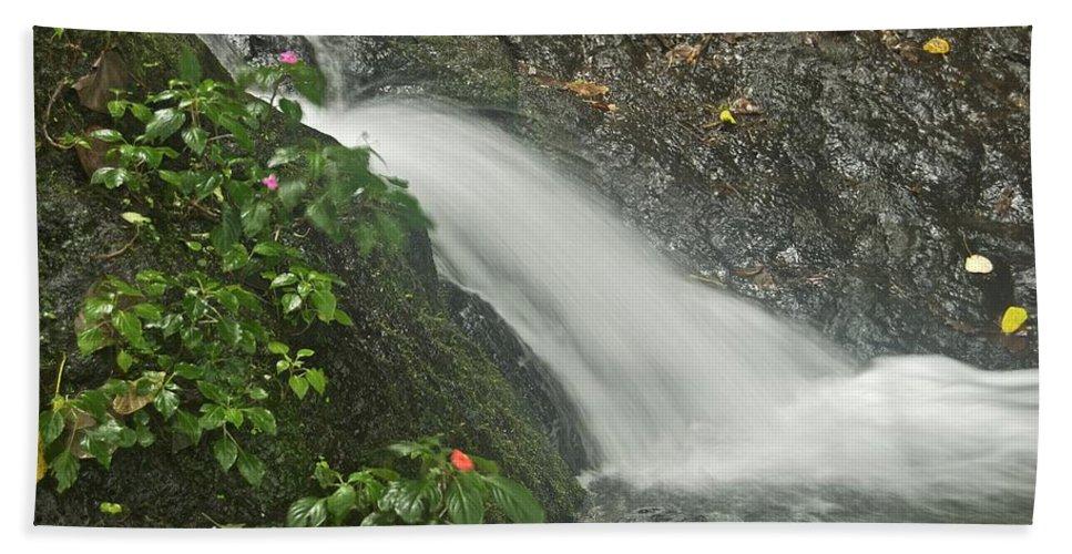 Likeke Bath Sheet featuring the photograph Likeke Falls 51 by Michael Peychich