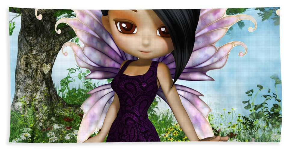3d Bath Sheet featuring the digital art Lil Fairy Princess by Alexander Butler