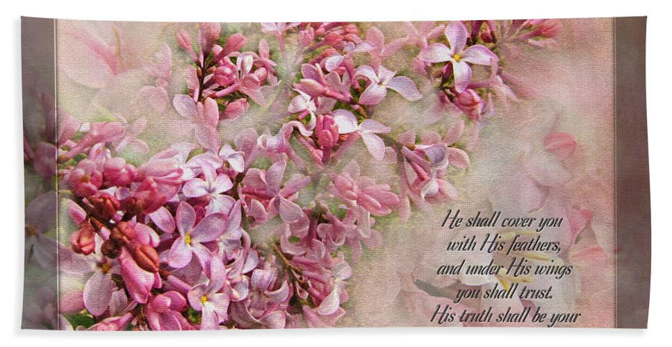 Botanical Bath Sheet featuring the digital art Lilacs With Verse by Debbie Portwood