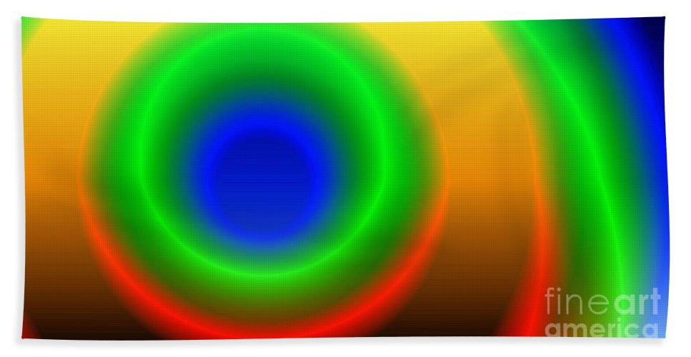 Gradient Bath Sheet featuring the digital art Lime Blue And Tangerine by Ron Bissett