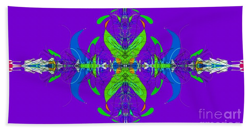 Fractal Bath Sheet featuring the digital art Linear Movement In Purple by George Pedro