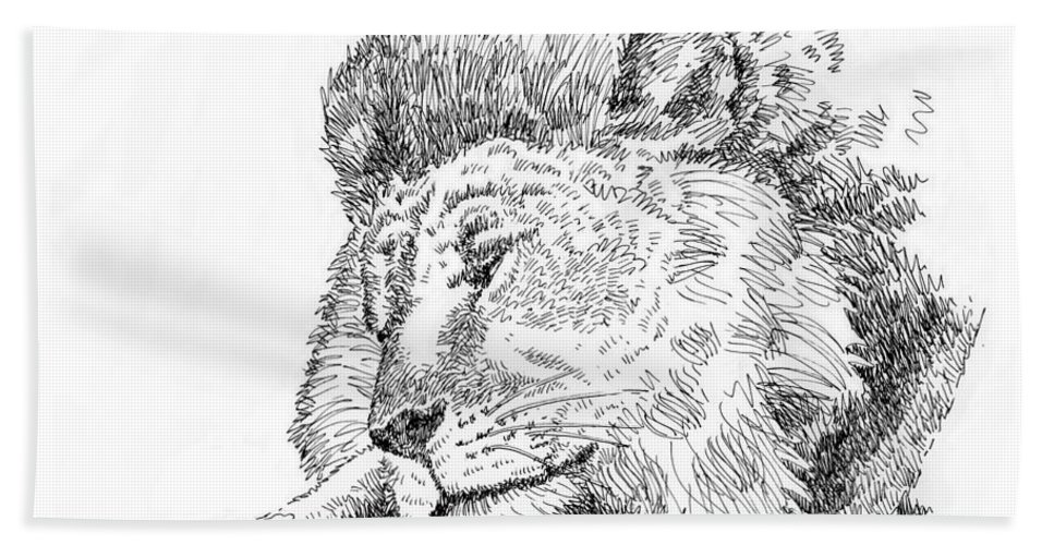 Cat Bath Sheet featuring the drawing Lion-art-black-white by Gordon Punt