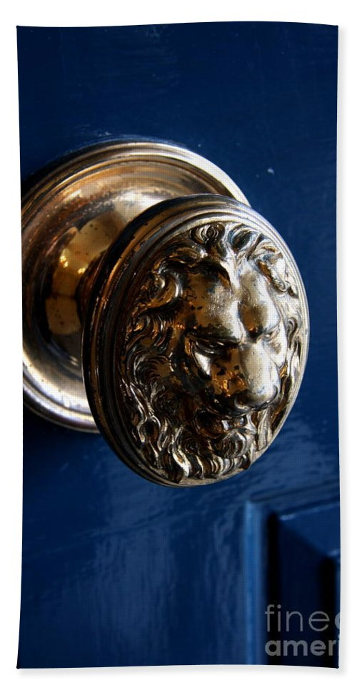 Door Bath Sheet featuring the photograph Lion Head Door Knob by Christiane Schulze Art And Photography