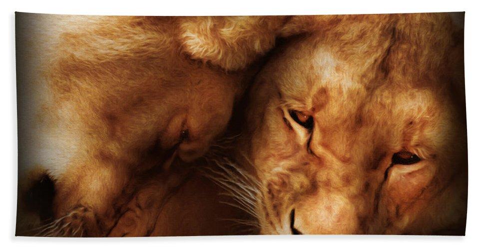 Nature Bath Sheet featuring the digital art Lioness Love by Georgiana Romanovna