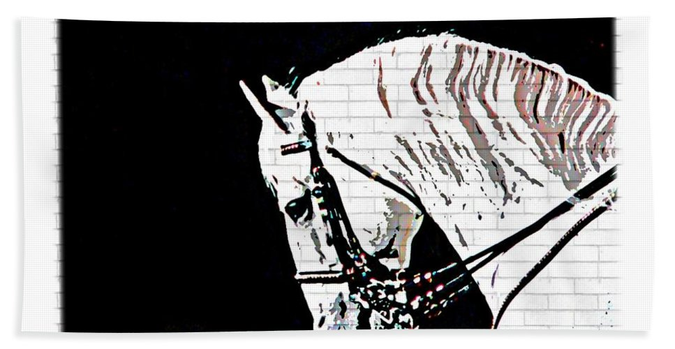 White Lippizan Horse Head Bath Sheet featuring the photograph Lippizan by Alice Gipson