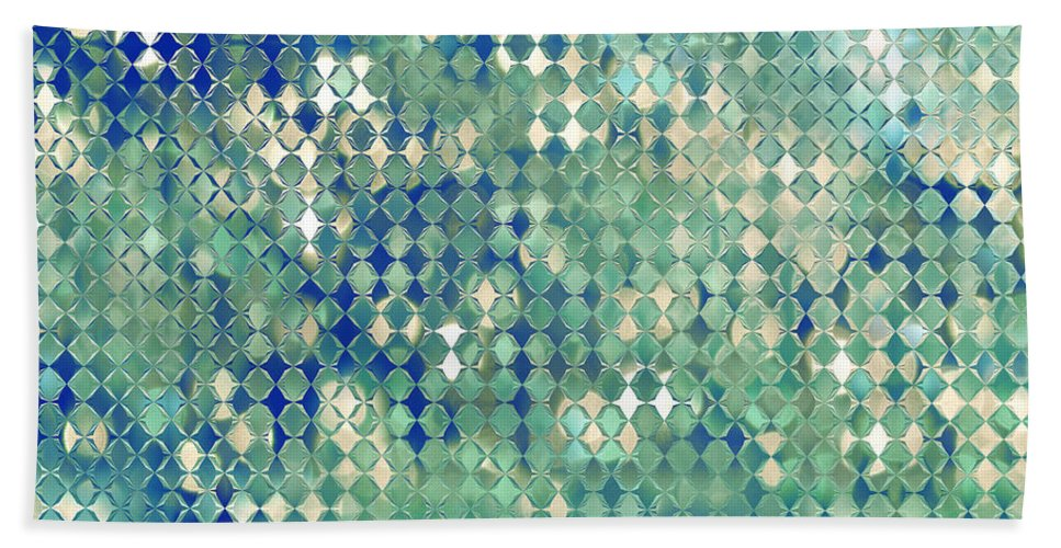 Abstract Bath Sheet featuring the digital art Little Blue Diamonds by Debbie Portwood