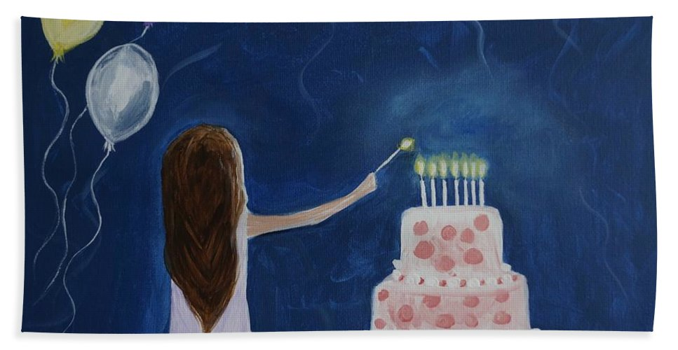Little Girl Canvas Prints Bath Sheet featuring the painting Little Cakie by Leslie Allen