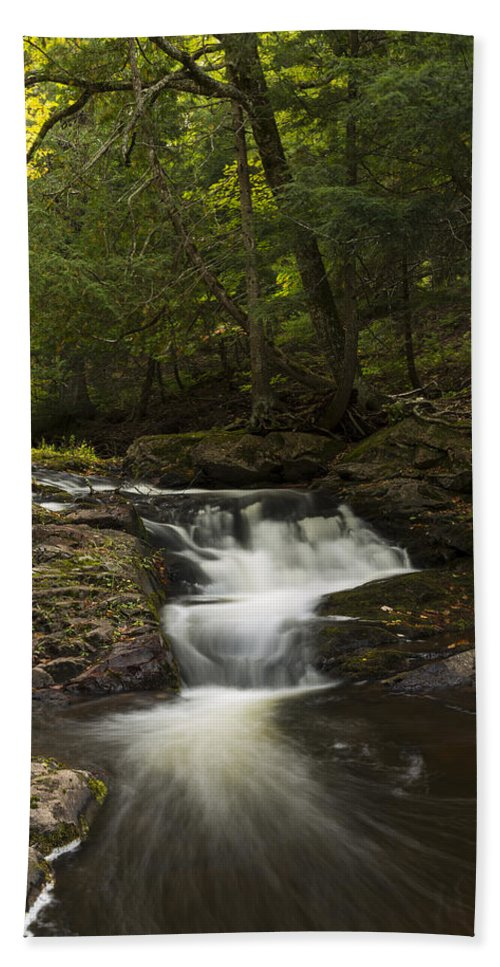 Little Carp Hand Towel featuring the photograph Little Carp River Falls 3 by John Brueske