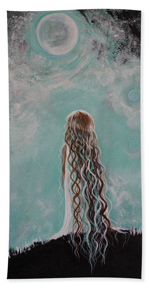 Little Girl Canvas Prints Bath Sheet featuring the painting Little Galaxie by Leslie Allen