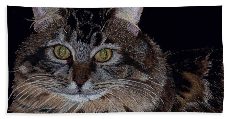 Cat Bath Sheet featuring the painting Little Girl - Maine Coon Cat Painting by Patricia Barmatz