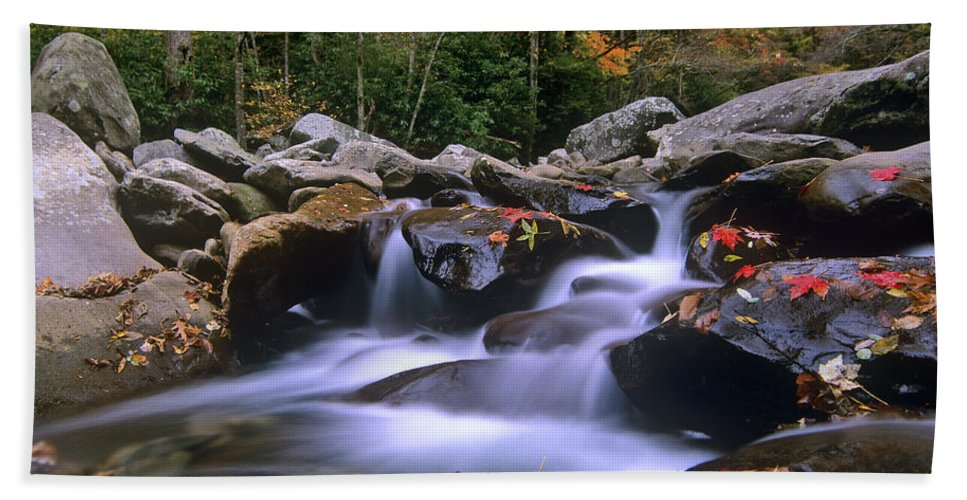 00176692 Bath Towel featuring the photograph Little Pigeon River Cascading Among by Tim Fitzharris