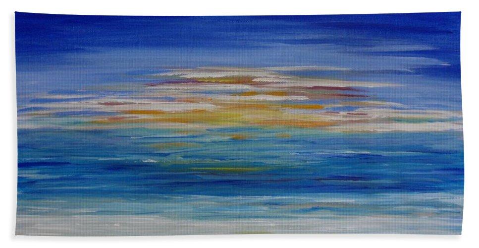 Painting Bath Sheet featuring the painting Lively Seascape by Tatjana Popovska