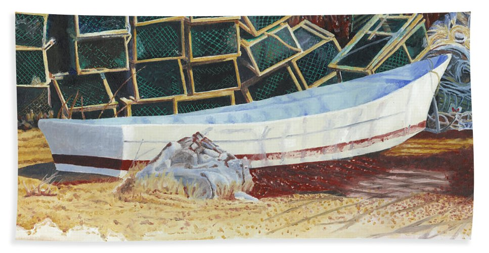 Dory Bath Towel featuring the painting Lobster Traps And Dory by Dominic White