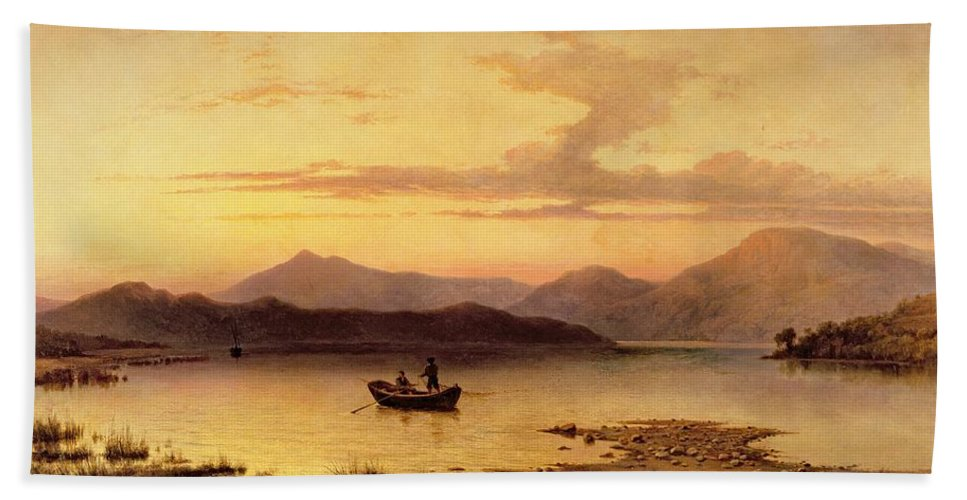 Loch Etive Bath Sheet featuring the painting Loch Etive From Bonawe In The Evening by George Edwards Hering