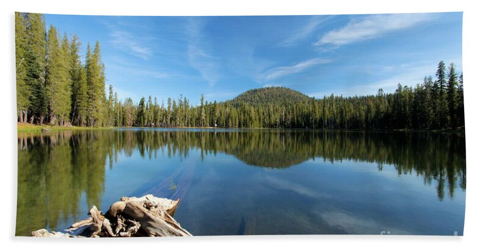 Summit Lake Bath Sheet featuring the photograph Log In The Lake by Adam Jewell