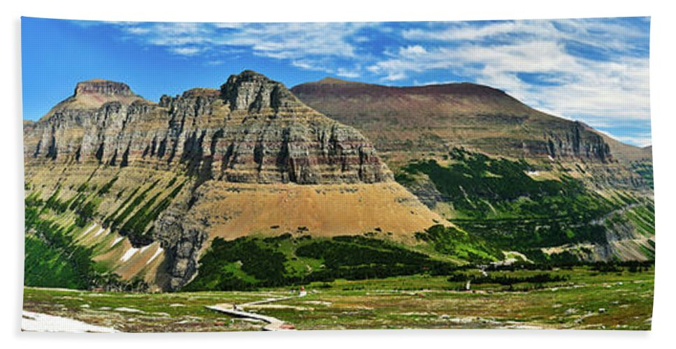 Glacier National Park Hand Towel featuring the photograph Logan Pass Panorama by Greg Norrell