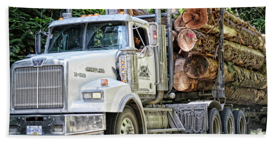 Ocean Hand Towel featuring the photograph Logging Truck by Traci Cottingham