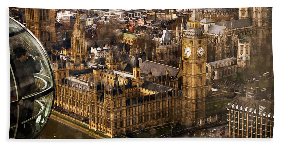 Big Ben Bath Sheet featuring the photograph London From The London Eye by Beth Riser