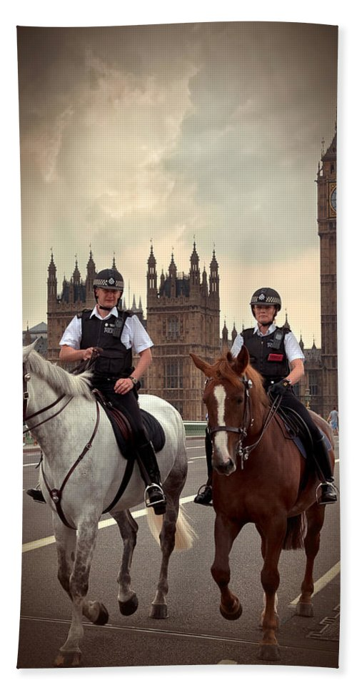 Active Bath Sheet featuring the photograph London Police by Svetlana Sewell